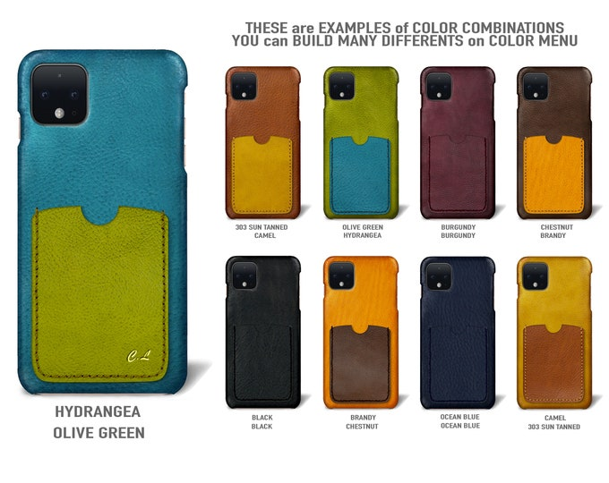 Goole Pixel 4 (smaller one) Italian Leather Case 1 vertical card slot Type 2 to use as protection Choose COLORS
