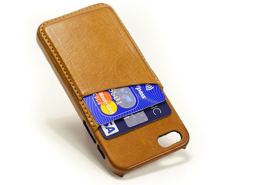 iphone credit card case for iphone SE 5S or 5C (choose device) with double credit card holder col CAMEL