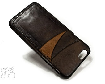 "iPhone 6 4.7"" leather credit card case 3 slots vertical choose colour of BODY and ACCENT"