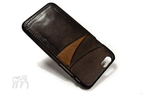 "iPhone 6 4.7"" leather credit card case (choose # of slots and Accent) col CASTAGNO"