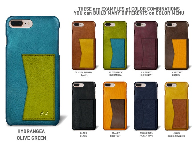 """iPhone 8 or 7  display 4.7"""" Leather Case with 1 credit card holder horizontal Slot choose the color of BODY and ACCENT"""