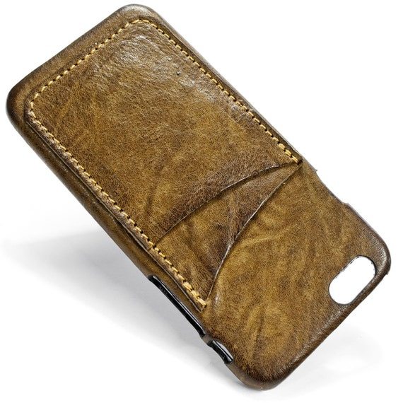 """iPhone 7 display 4.7"""" Italian Leather Case with 2 credit cards holder vertical SLOTs choose the color of BODY and ACCENT"""