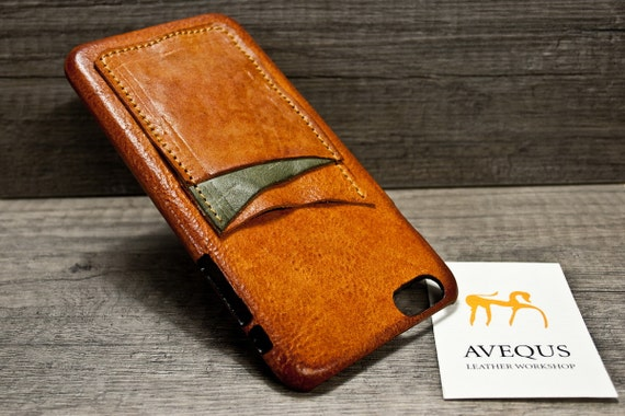 "NEW iPhone 8 or 7 Plus 5.5"" leather 3 slots credit card case choose BODY and ACCENT colours"