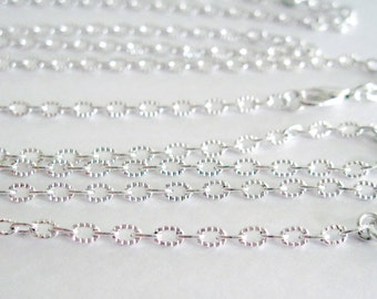 Silver Plated Textured Link Chain Finished Necklace Ready To Wear Necklace  Made To Order Necklace Various Length Necklace
