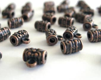 6 Small, Tiny,  Antique Copper Bail Beads, Tube, Barrel,  Cylinder Shape, 2/8 Inch, CLJewelrySupply