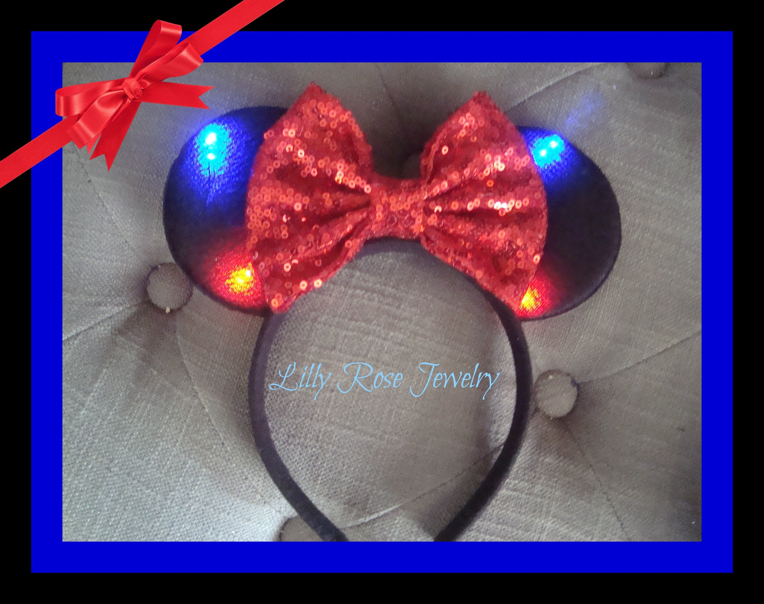 Light Up Mouse Ears Black And Red Minnie Mouse Ears Inspired Etsy