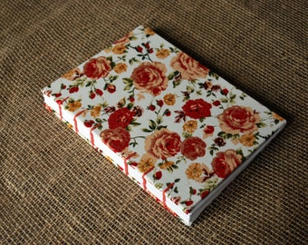 Autumnal rose hardback lined fabric journal A5