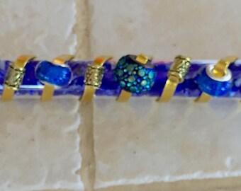 Heavenly Blue Wedding Glass Mezuzah