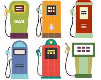 Retro Gas Pumps Digital Clip Art for Scrapbooking Card Making Cupcake Toppers Paper Crafts