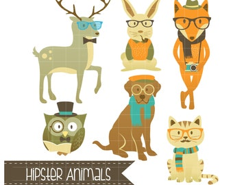 Cute Hipster Animals Clipart Digital Clip Art for Scrapbooking Card Making Cupcake Toppers Paper Crafts