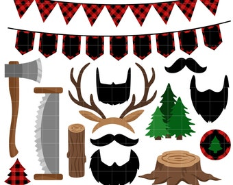 Lumberjack Party Clip Art for Scrapbooking Card Making Cupcake Toppers Paper Crafts