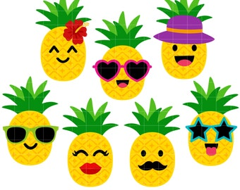 Cool Pineapple Digital Clip Art for Scrapbooking Card Making Cupcake Toppers Paper Crafts