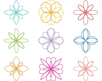 Simple Flower Outlines Clip Art for Scrapbooking Card Making Cupcake Toppers Paper Crafts