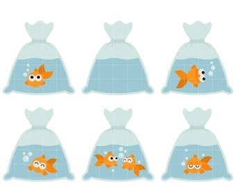 Goldfish In A Bag Digital Clip Art for Scrapbooking Card Making Cupcake Toppers Paper Crafts