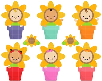 Cute Sunflower Babies Clip Art for Scrapbooking Card Making Cupcake Toppers Paper Crafts