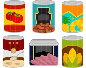 Canned Foods Digital Clip Art for Scrapbooking Card Making Cupcake Toppers Paper Crafts