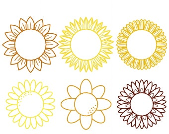 Sunflower Outlines Digital Clip Art for Scrapbooking Card Making Cupcake Toppers Paper Crafts