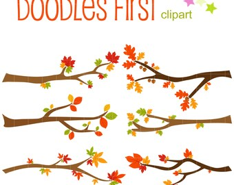Autumn Branches Digital Clip Art for Scrapbooking Card Making Cupcake Toppers Paper Crafts