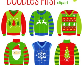 Ugly Christmas Sweaters Digital Clip Art for Scrapbooking Card Making Cupcake Toppers Paper Crafts
