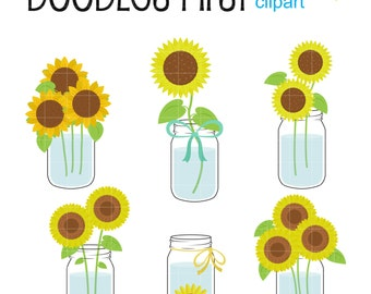 Mason Jar Sunflowers Clip Art for Scrapbooking Card Making Cupcake Toppers Paper Crafts