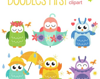 Spring Owls Digital Clip Art for Scrapbooking Card Making Cupcake Toppers Paper Crafts