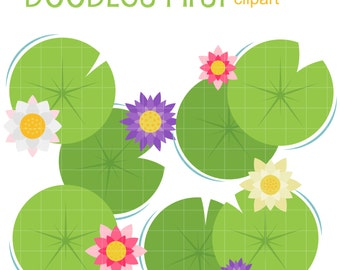 Water Lilies Digital Clip Art for Scrapbooking Card Making Cupcake Toppers Paper Crafts