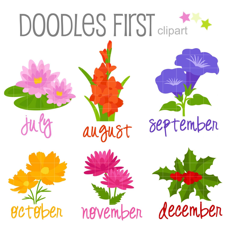 Flower of the Month July December Digital Clip Art for