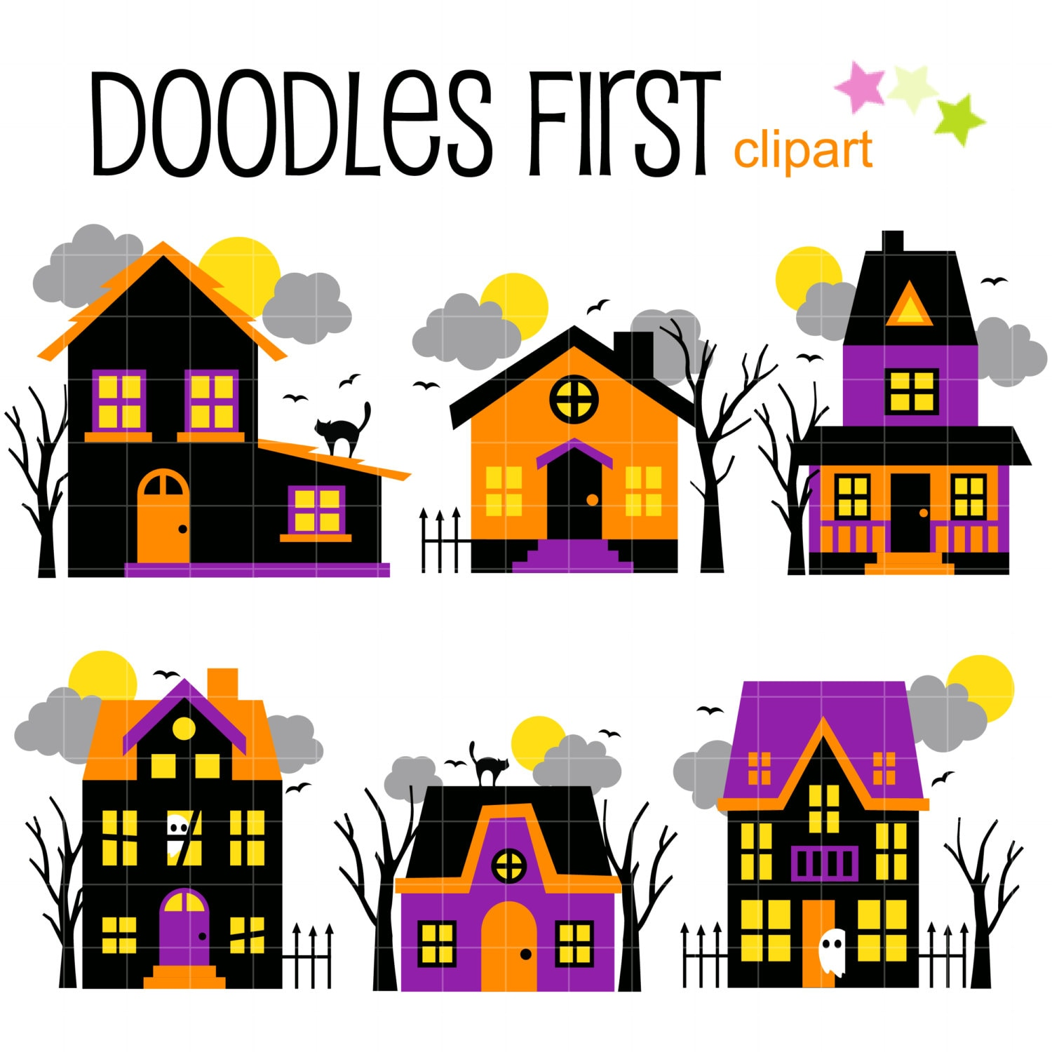 Haunted House Digital Clip Art for Scrapbooking Card ...