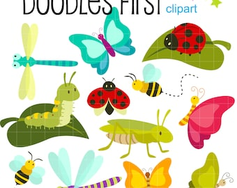 Bugs Life Insects Friends Digital Clip Art for Scrapbooking Card Making Cupcake Toppers Paper Crafts