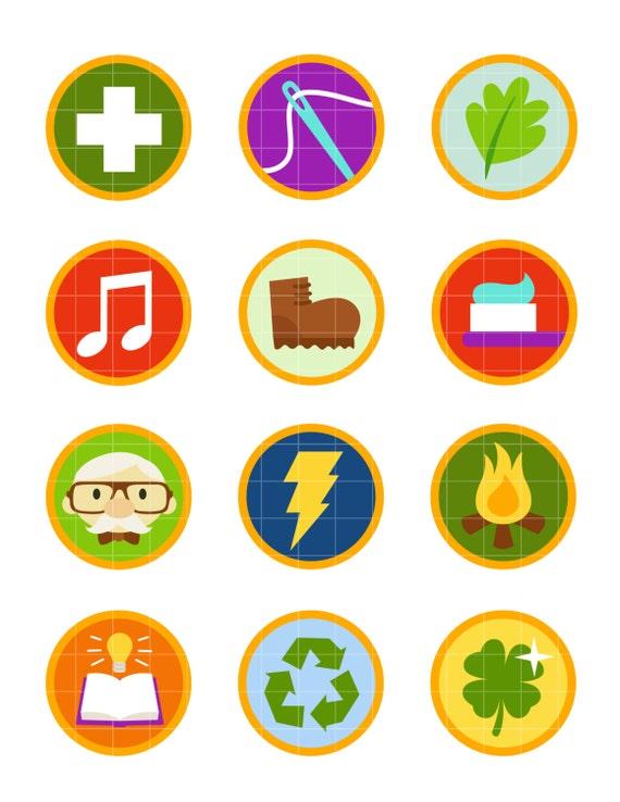 wilderness explorer badges collage sheets for scrapbooking etsy