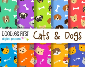 Cats & Dogs Seamless Digital Paper Pack Includes 10 for Scrapbooking Paper Crafts