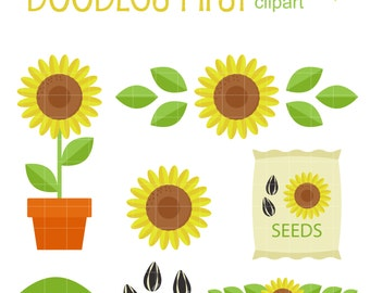 Simple Sunflowers Clip Art for Scrapbooking Card Making Cupcake Toppers Paper Crafts