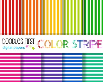 Color Stripe Seamless Digital Paper Pack Includes 10 for Scrapbooking Paper Crafts