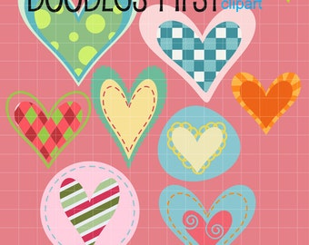 Adorable Decorative Hearts Digital Clip Art Set Digital Clip Art Set for Personal and Commercial Use