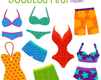 Bikinis and Swimming Trunks Digital Clip Art for Scrapbooking Card Making Cupcake Toppers Paper Crafts
