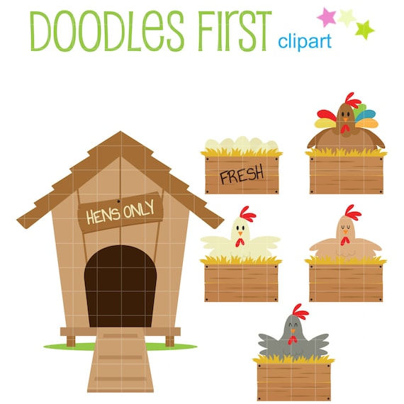 Chicken Coop Set Digital Clip Art For Scrapbooking Card Making