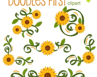 Classic Sunflowers Corners and Borders Digital Clip Art for Scrapbooking Card Making Cupcake Toppers Paper Crafts