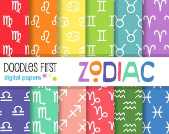 Zodiac Signs Seamless Digital Paper Pack Includes 10 for Scrapbooking Paper Crafts