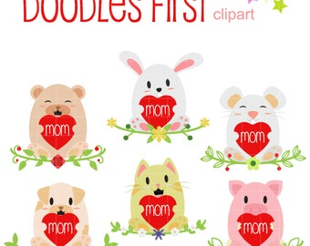 Mom's Day -Baby Animals Digital Clip Art for Scrapbooking Card Making Cupcake Toppers Paper Crafts