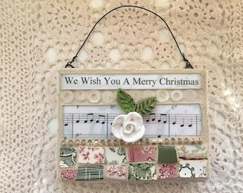 Mosaic mixed media Christmas music wall hanging
