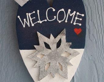 Snowflake welcome sign, winter porch decor