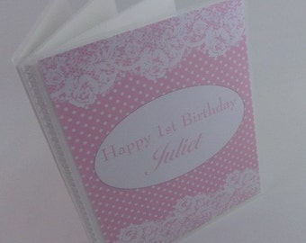 Personalized Photo Album 4x6 or 5x7 Pictures PERSONALIZED With Name Printed Wood and Lace IA#184