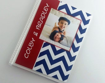 Birthday Photo Album Baby Boy PERS0NALIZED NAME Add Name Chevron Polka Dot 4x6 or 5x7 Pictures Custom 1st Party Gift Shower Book IA#391