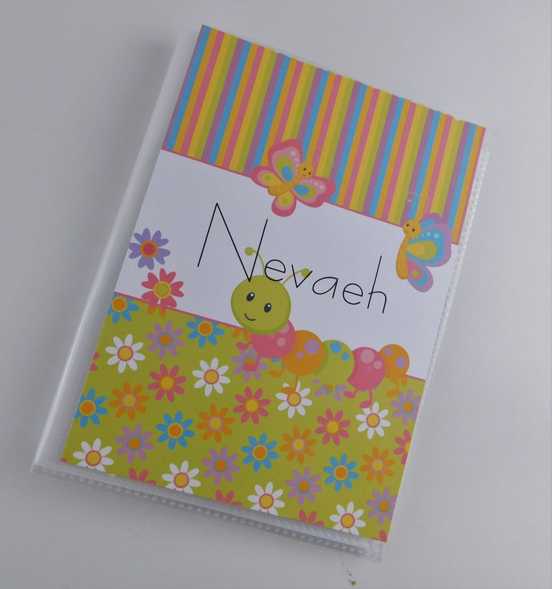 Baby Girl Photo Album 4x6 or 5x7 Personalized Grandmas Brag Book Summer Flower Caterpillar Butterfly 092