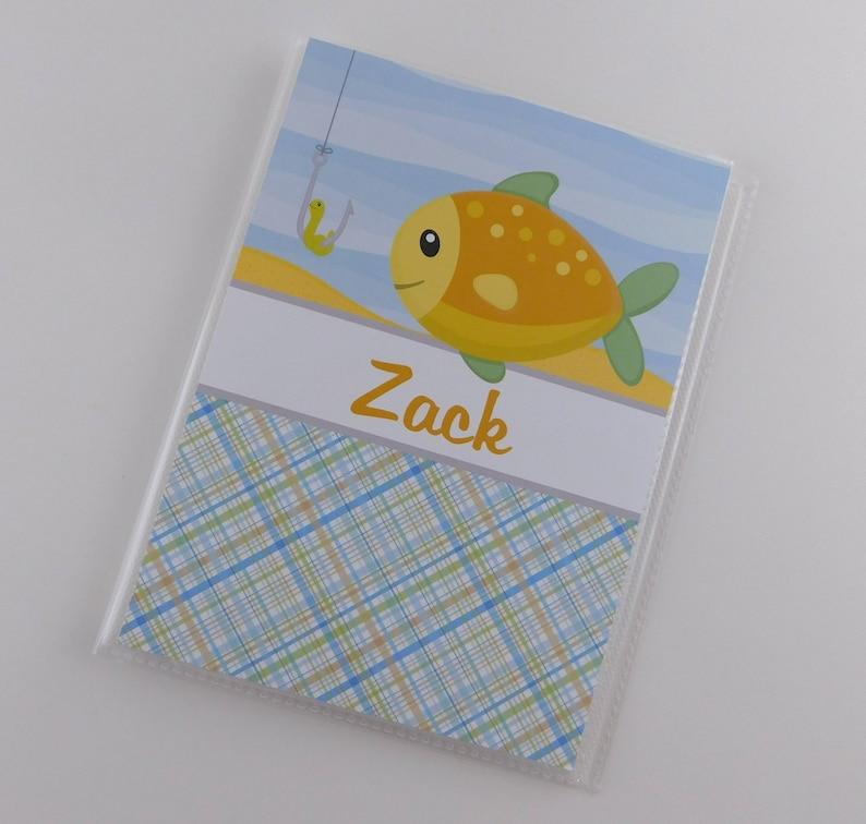 Fish Photo Album Boy Baby Shower Gift 5x7 or 4x6 Pictures Grandmas Brag Book Fishing Birthday Party Camping 854