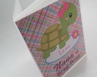 Grandmas Brag Book baby Photo Album girl Photo Album personalized photo album Nanas brag book baby shower gift 4x6 or 5x7 pink turtle 345 X