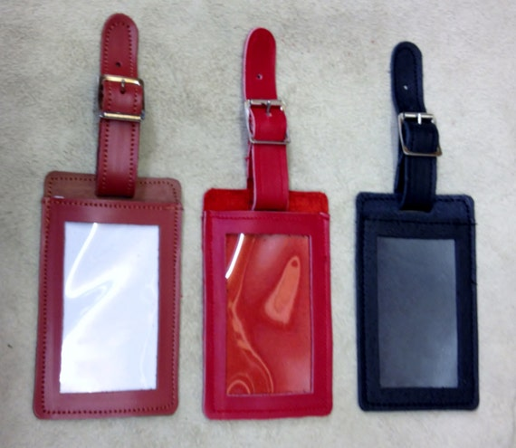 Quality LEATHER LUGGAGE / Id Tag LABEL / Buckle Fastening / Holiday ,Travel , Security