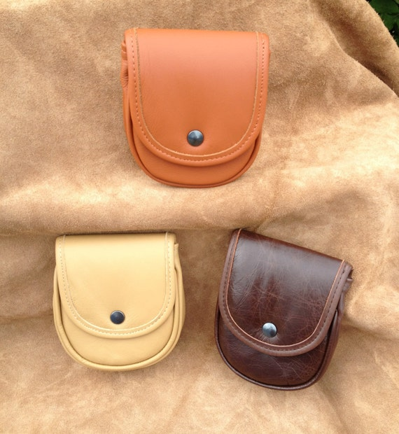 """Large SOFT LEATHER Padded rigid front / Back POUCH - Leather Belt Loop 6"""" x 5"""" x 1.25"""" Tan, Cream or  Brown"""