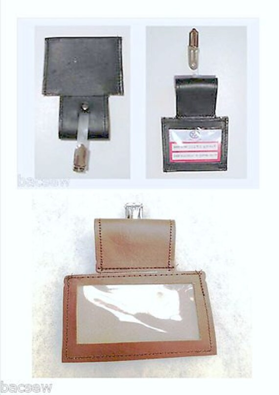 Leather ID BADGE HOLDER / Pass-Taxi-Bus-Coach - Office / 4.5cm Belt Loop and One Clip