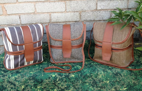 UNIQUE Limited Edition  TWEED and Italian  Plain and Stripe CANVAS Shoulder bag / Tan Leather trim